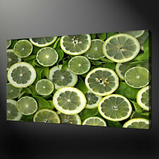 GREEN LIMES SLICES KITCHEN CANVAS PRINT WALL DESIGN READY TO HANG