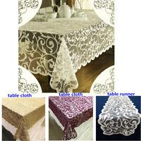 Vintage Spitze Tischdecke Rechteckig Tischtuch Hochzeit Party Home Deko Blumen
