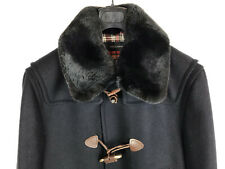 Dsquared 2 Wool Duffle Jacket Coat Fur Collar Black Leather Toggle 52 54 42 New