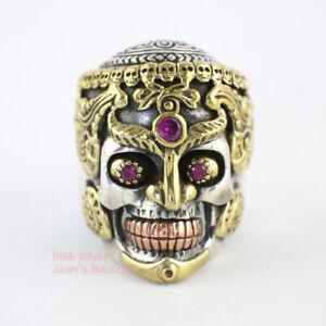 925 Sterling Silver &Brass Blood Skull Skeleton CZ Eyes Men's Ring A3732