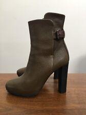 Balenciaga Green Olive Black Pebble Leather Brown Buckle High Heel Booties 36 6