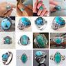 Vintage 925 Silver Turquoise Gems Ring Men Women Wedding Party Gypsy Sz 6-10