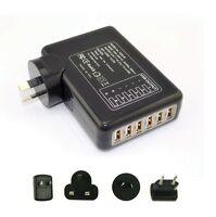 6 Ports 6Amp USB Multi Adapter Travel Wall Charger Supply UK/AU/US/EU Plug Black