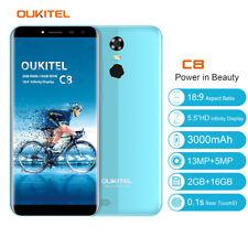 "Oukitel C8 5,5"" Smartphone Android7.0 3000mAh 2GB 16GB 13MP Handy Quad Core Blau"