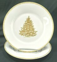 "Williams Sonoma Christmas Tree Plymouth Gold Salad Plates 8 5/8"" (Set of 2)"