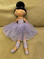 """Bloch Ballerina Rag 19"""" Doll Dark Skin Brunette Purple Tutu"""