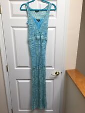 Bebe Women's Maxi Dress Blue Turquoise Pointelle Knit Space Dye Size Small S NWT