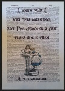 Alice in Wonderland Quote Print Vintage Dictionary Page Picture Wall Art Morning