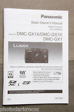 Panasonic Lumx DMC-GX1X GX1 GX1K Instruction Manual Book English Spanish USED M6