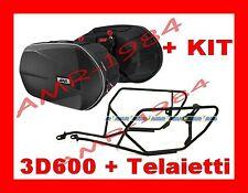 BORSE LATERALI 3D600 + TELAIO TE366 YAMAHA FZ8  litri 18/28 x 2  + KIT 366KIT