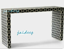 Handmade Bone Inlay Honeycomb Black Console Table