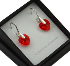 925 Silver Earrings 10mm Heart Red *LIGHT SIAM AB* Crystals from Swarovski®