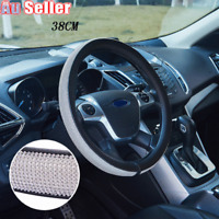 Leather Rhinestone Steering Wheel Cover Auto Bling Stud Crystal Car Decoration