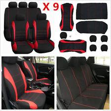 9pcs Red+Black Kits Auto Seat Covers For Car Sedan Universal 5-Seats Seat Covers