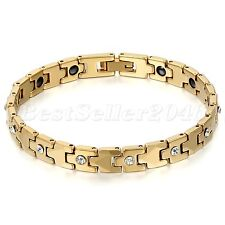 Gold Tone Tungsten Carbide Link Health Energy Magnetic Womens Mens Bracelet Cuff