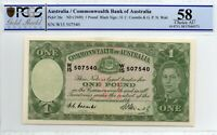 1949 AUSTRALIAN ONE POUND NOTE PICK#26c COOMBS/WATT PCGS 58 aUNC w/15 507540