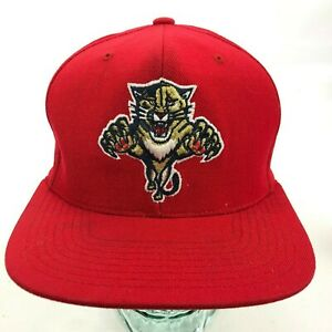 FLORIDA PANTHERS Men's Strapback Hat Adjustable 100% Wool Mitchell Ness Red