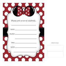 Las Mejores Ofertas En Rojo Minnie Mouse Saludo Invitaciones