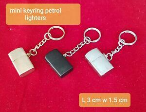 Small Miniature Gold Petrol Cigarette Lighter Flip Top Keyring G.W.O