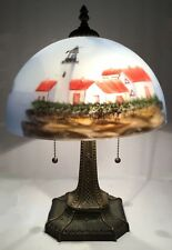 Glass lamp. Reverse painted lamp shade. Lighthouses. Bronzed mission style base.