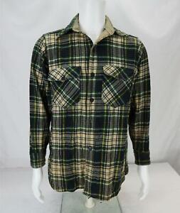 VTG Woolrich Heavy Flannel Button Up Shirt Plaid Green/Beige Men's Medium