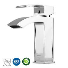 Single Handle Bathroom Basin Waterfall Faucet with Large Rectangular Spout