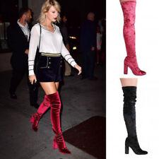 Block Heel Shoes for Women's Regular Size Velvet Upper