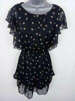 WOMENS AX SMART FIT & FLARE DRESS POLKA DOTS SLEEVELESS BLACK 8