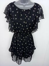 WOMENS AX SMART FIT & FLARE DRESS POLKA DOTS SLEEVELESS BLACK 8