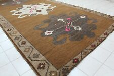 "Vintage Handmade Turkish Oushak Brown Anatolia Area Rug 125""x64"""