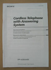 Sony Cordless Telephone SPP-A250 / A450 Owner's Operating Instruction Manual