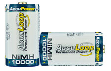 AccuPower NiMH D size AccuLoop AL10000 Rechargeable Batteries Precharged 2 pack
