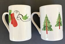 Starbucks Coffee Cups Winter Holiday  Designs Lot Of Two Mugs Mittens Trees Gift
