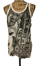 SURE Design Women's Crinkle Cotton Butterfly Buddha Tank Top Size LARGE NEW