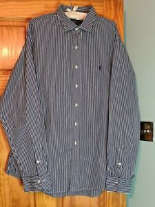 Polo by Ralf Lauren mens shirt Blue Stripped Stanton Fit Size XXL 100% Cotton