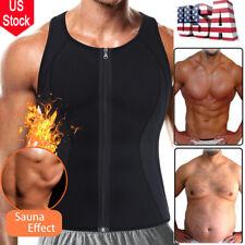 Men's Hot Sauna Sweat Suits Tank Top Shirt Waist Trainer Workout Vest Slim Belt