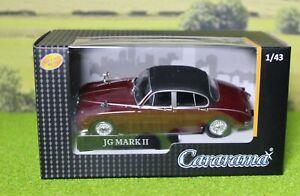 Cararama 1:43 scale Jaguar MK 2 Burgundy, Great for 0 Gauge Railways.