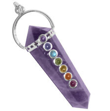 Double Terminated Amethyst 7 Chakra Crystal Silver Pendant Point Necklace Stone