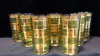 VINTAGE CULVER 22K GOLD & GREEN HIGHBALL COCKTAIL TUMBLER GLASSES LOT OF 7