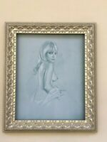 Vintage Nude Pencil Sketch Print - Framed Ready to Hang!