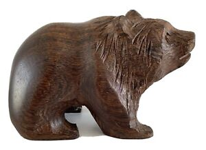 """Vintage Wooden Carved Bear Black Forest approx 8.5cms (3 1/4"""") Long"""
