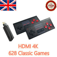 Retro TV Game Stick Mini HDMI 4K Console 628 Built-in Games 2×Wireless Gamepad ]