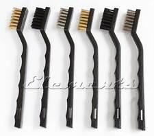 WIRE 6 BRUSH SET SMALL MINI MICRO STEEL BRASS NYLON DIY METAL RUST REMOVER T010