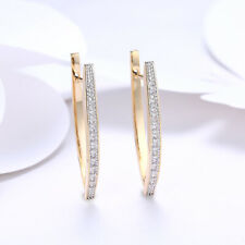 1 5/8 Ct Simulated White Topaz Hoop Earrings 18k Gold Plated