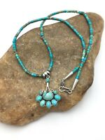 """Minimalist Native American Sterling Silver Cluster Turquoise Pendant 20"""" 4079"""