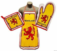 Royal Standard of Scotland Flag Kitchen & BBQ Set w Apron Oven Mitt & Pot Holder