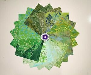 """Batik Fabric Cotton Quilting 40 of 5""""x5"""" Charms  Squares - Green"""