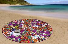 Floral Patchwork Beach Throw Tapestry Round Cotton Wall Hanging Indian Yoga Mat