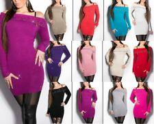 SeXy Miss Damen Carmen Pullover Long Pulli Feinstrick Dress Perlen Strass XS/S