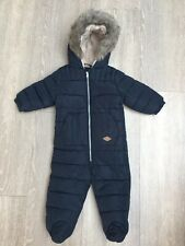Boys Navy Blue Next Faux Fur Trim All In One Snowsuit, Age 9-12 Months